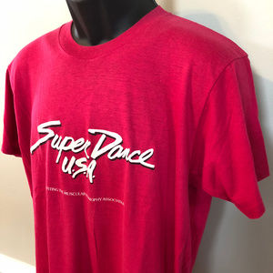 Vintage Shirts - 80s Super Dance USA Tee Shirt 50s Party